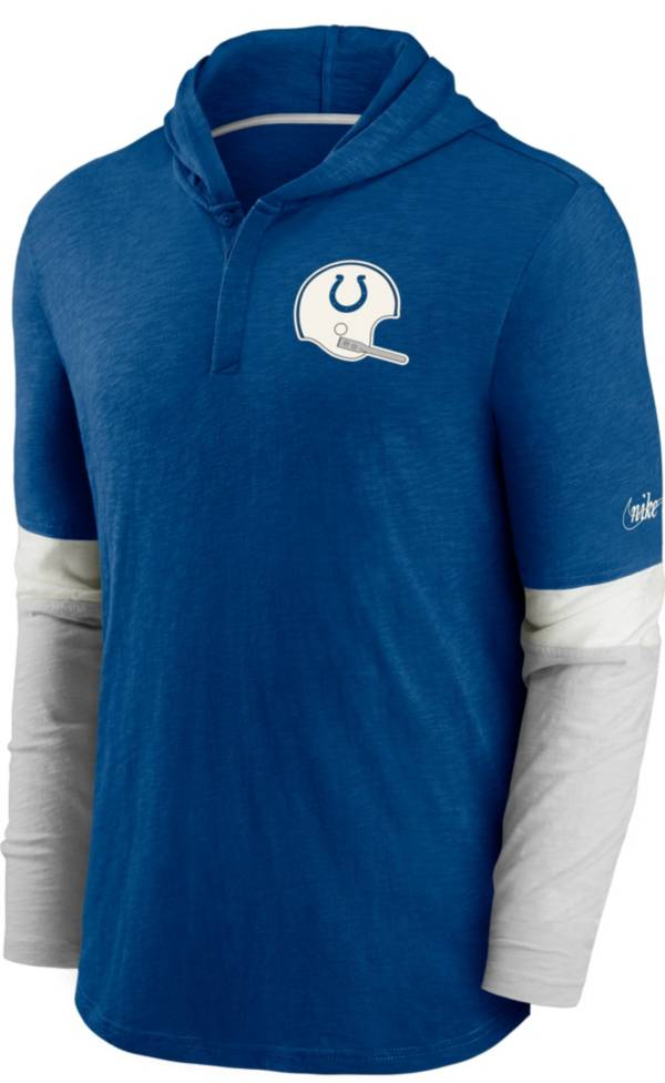 Nike Men's Indianapolis Colts Blue Hooded Long Sleeve Henley T-Shirt product image
