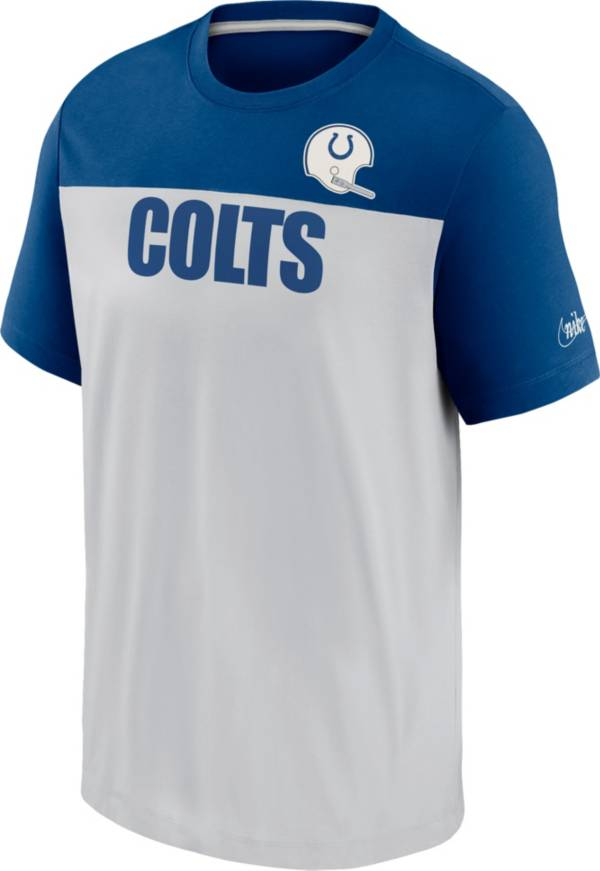 Nike Men's Indianapolis Colts Silver Rewind Historic Wordmark Colorblock T-Shirt product image