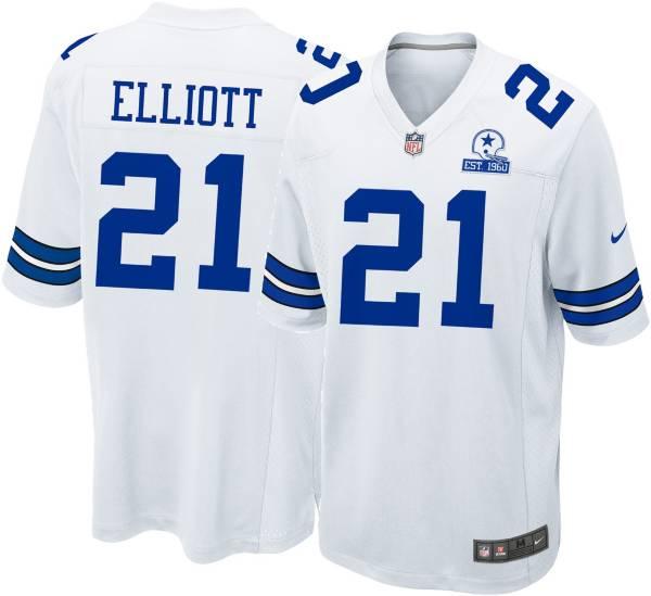 Nike Men's Dallas Cowboys Ezekiel Elliott #21 60th Anniversary White Game Jersey product image