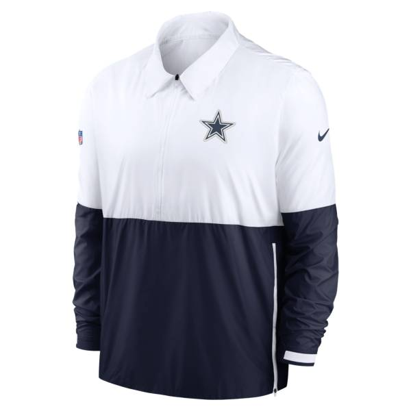 Nike Men's Dallas Cowboys Sideline Coaches White/Navy Pullover Jacket product image