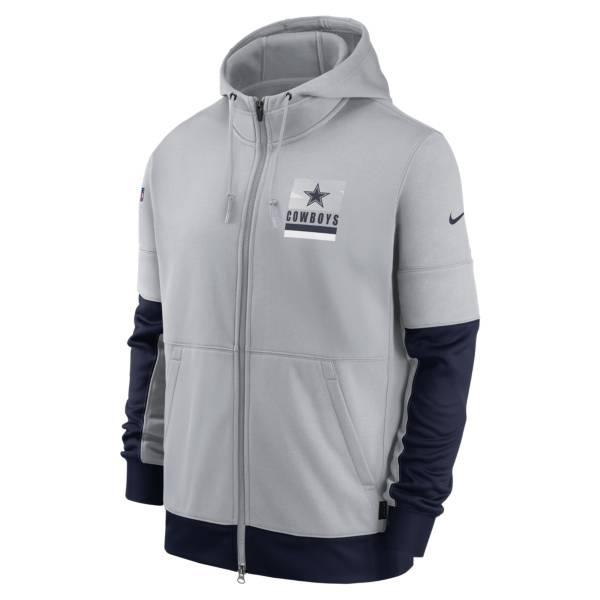 Nike Men's Dallas Cowboys Sideline Lockup Grey/Navy Full-Zip Hoodie product image