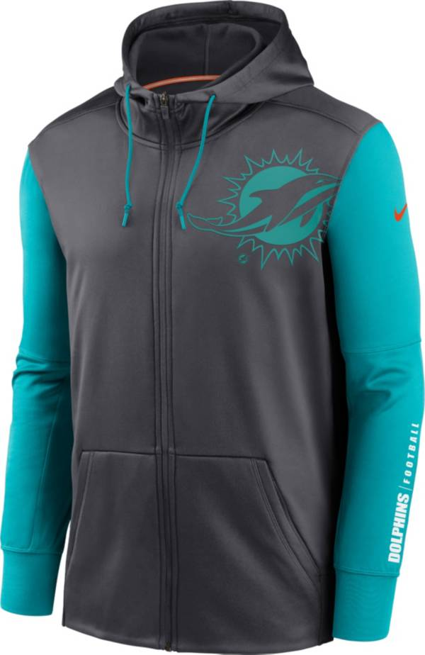 Nike Men's Miami Dolphins Color Block Logo Full-Zip Anthracite Hoodie product image