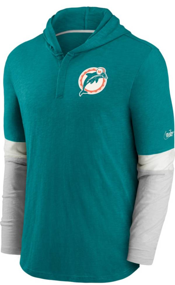 Nike Men's Miami Dolphins Aqua Hooded Long Sleeve Henley T-Shirt product image