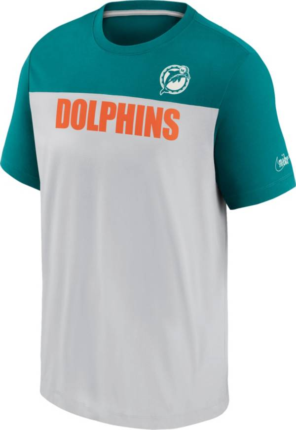 Nike Men's Miami Dolphins Silver Rewind Historic Wordmark Colorblock T-Shirt product image