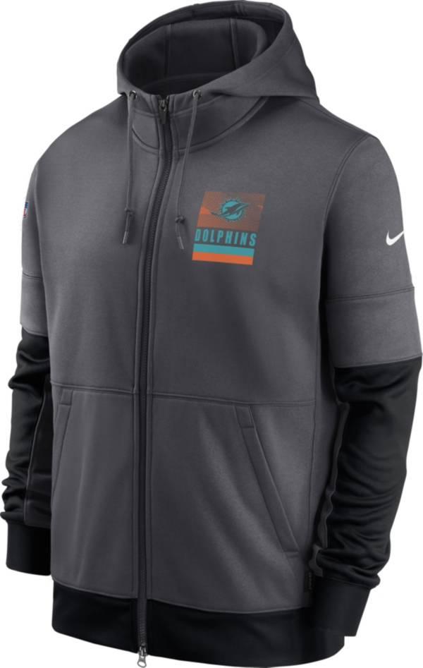 Nike Men's Miami Dolphins Sideline Lock Up Grey Full-Zip Hoodie product image