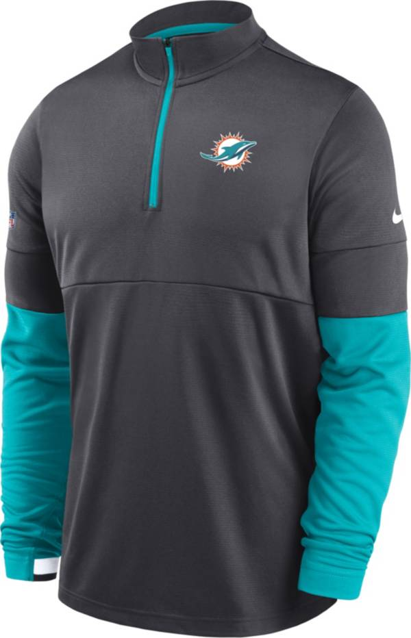 Nike Men's Miami Dolphins Sideline Coach Performance Anthracite Half-Zip Pullover product image