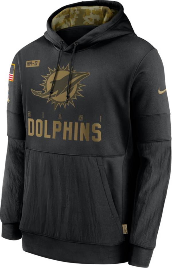 Nike Men's Salute to Service Miami Dolphins Black Therma-FIT Pullover Hoodie product image