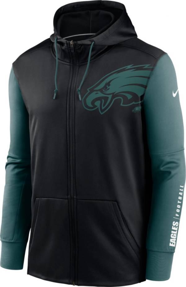 Nike Men's Philadelphia Eagles Color Block Logo Full-Zip Black Hoodie product image