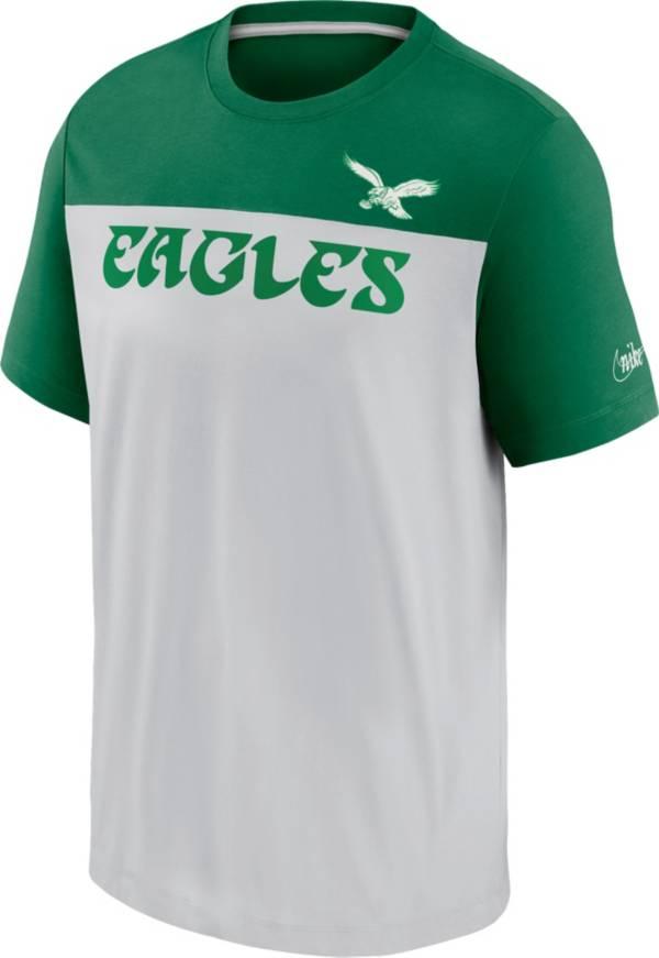 Nike Men's Philadelphia Eagles Silver Rewind Historic Wordmark Colorblock T-Shirt product image