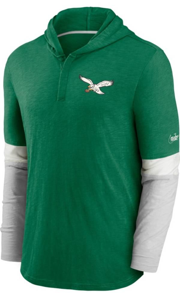 Nike Men's Philadelphia Eagles Green Hooded Long Sleeve Henley T-Shirt product image