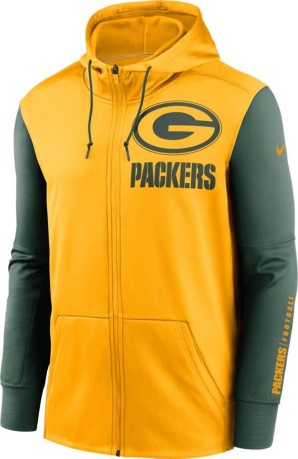 Nike Men's Green Bay Packers Color Block Logo Full-Zip Gold Hoodie product image