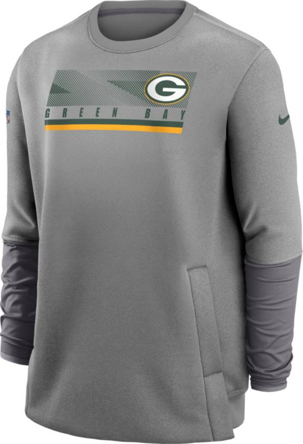 Nike Men's Green Bay Packers Sideline Coaches Grey Crew Sweatshirt product image
