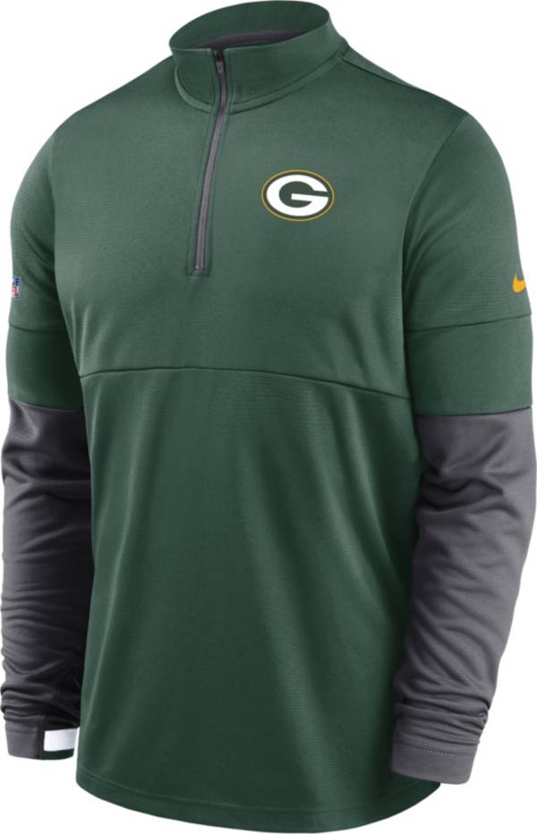 Nike Men's Green Bay Packers Sideline Coach Performance Green Half-Zip Pullover product image