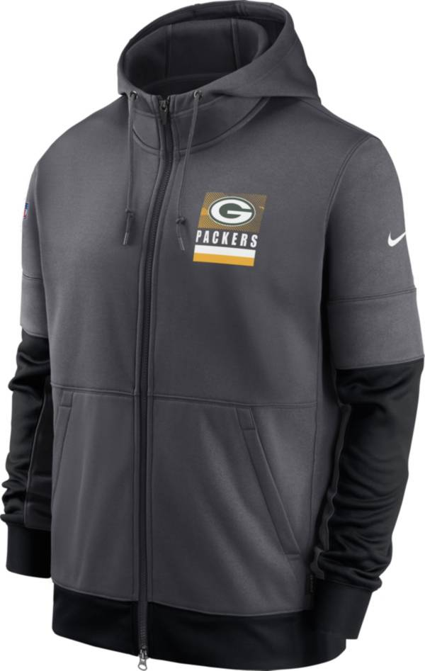 Nike Men's Green Bay Packers Sideline Lock Up Full-Zip Anthracite Hoodie product image