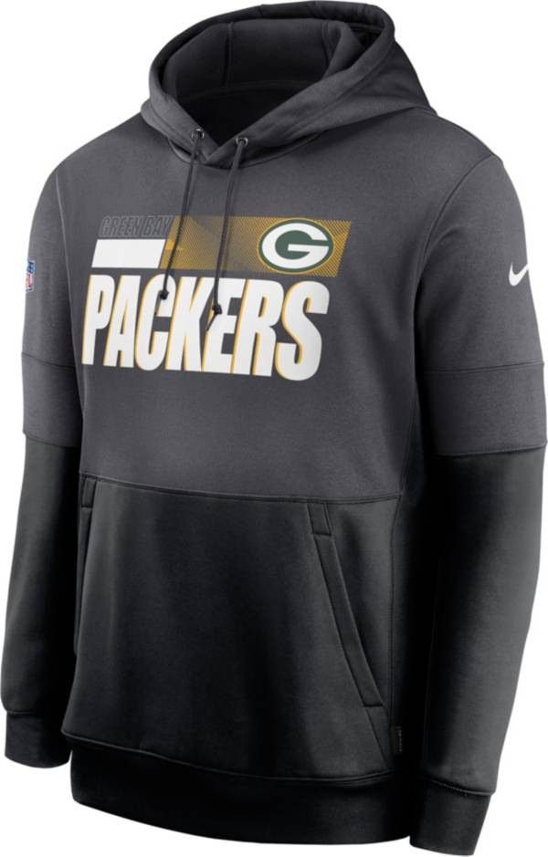 Nike Men's Green Bay Packers Sideline Lock Up Pullover Grey Hoodie product image