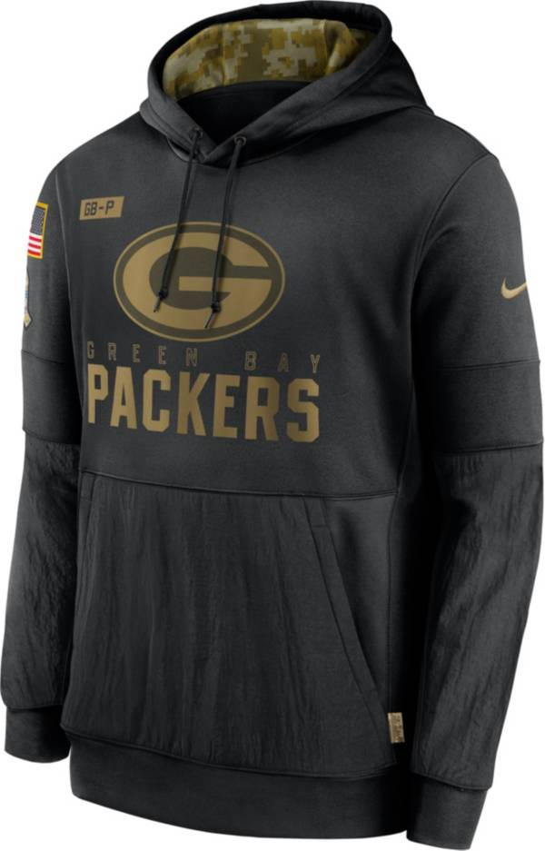 Nike Men's Salute to Service Green Bay Packers Black Therma-FIT Pullover Hoodie product image