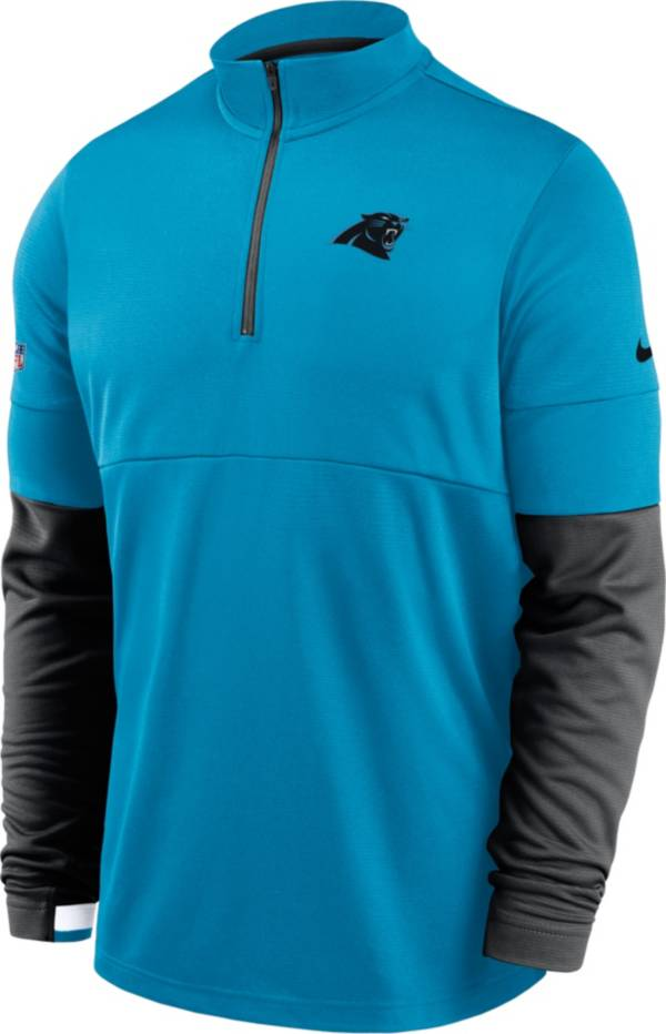 Nike Men's Carolina Panthers Sideline Coach Performance Blue Half-Zip Pullover product image