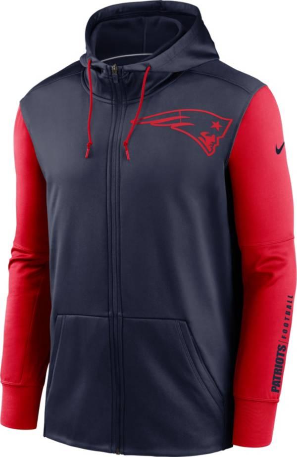 Nike Men's New England Patriots Color Block Logo Full-Zip Navy Hoodie product image