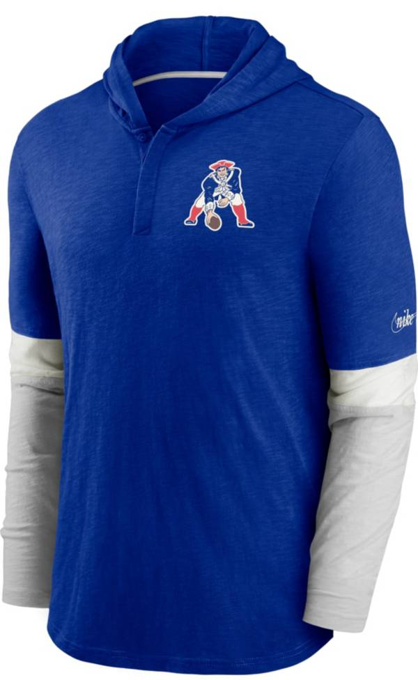 Nike Men's New England Patriots Blue Hooded Long Sleeve Henley T-Shirt product image