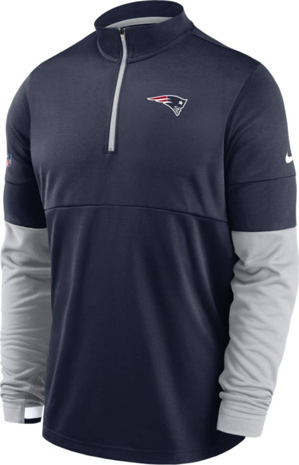Nike Men's New England Patriots Sideline Coach Performance Navy Half-Zip Pullover product image