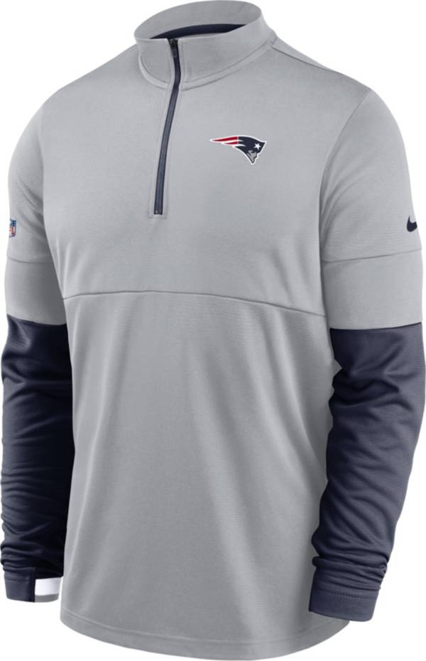 Nike Men's New England Patriots Sideline Coach Performance Grey Half-Zip Pullover product image