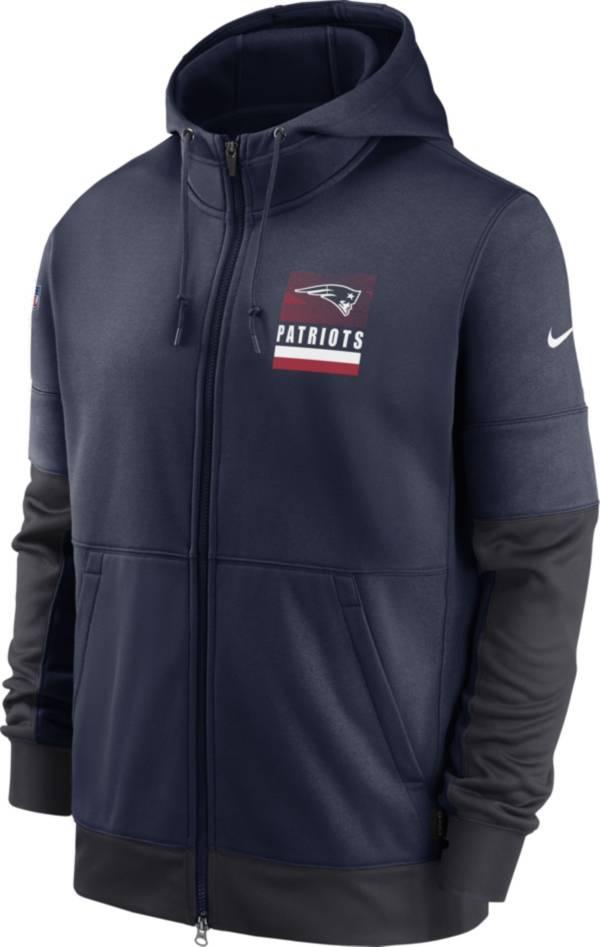 Nike Men's New England Patriots Sideline Lock Up Full-Zip Navy Hoodie product image