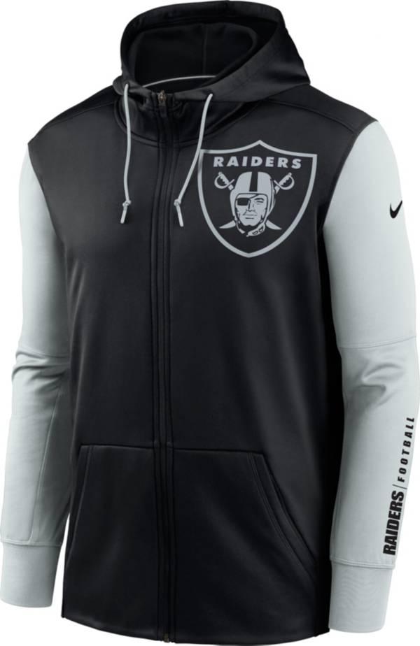 Nike Men's Las Vegas Raiders Color Block Logo Full-Zip Black Hoodie product image