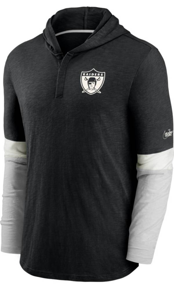 Nike Men's Las Vegas Raiders Hooded Long Sleeve Henley Black T-Shirt product image