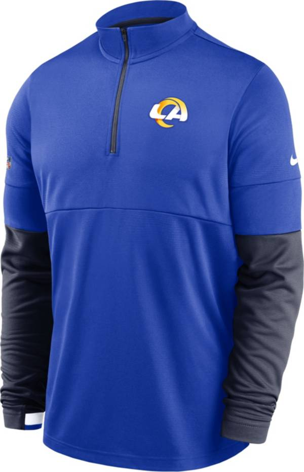 Nike Men's Los Angeles Rams Sideline Coach Performance Blue Half-Zip Pullover product image