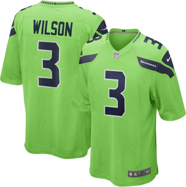 Nike Men's Seattle Seahawks Russell Wilson #3 Turbo Green Game Jersey