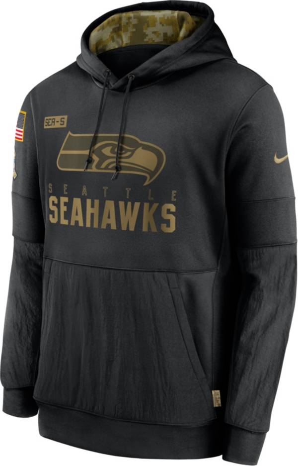 Nike Men's Salute to Service Seattle Seahawks Black Therma-FIT Pullover Hoodie product image