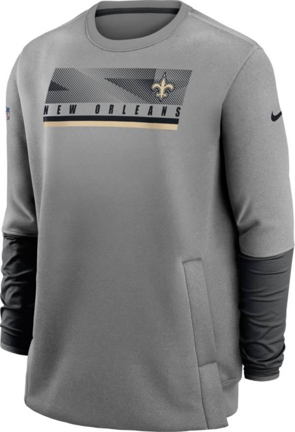 Nike Men's New Orleans Saints Sideline Coaches Grey Crew Sweatshirt product image