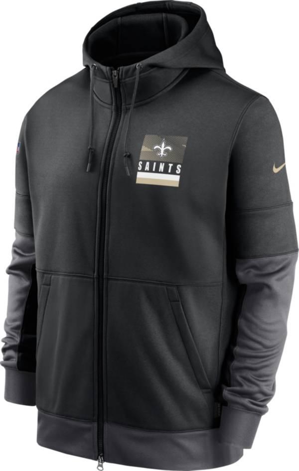 Nike Men's New Orleans Saints Sideline Lock Up Full-Zip Black Hoodie product image