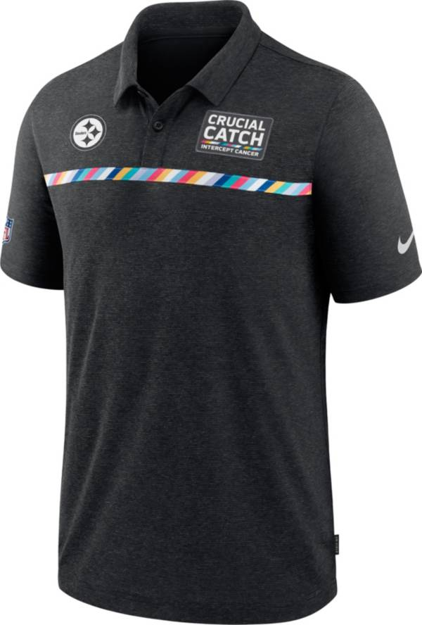 Nike Men's Pittsburgh Steelers Crucial Catch Logo Black Polo product image