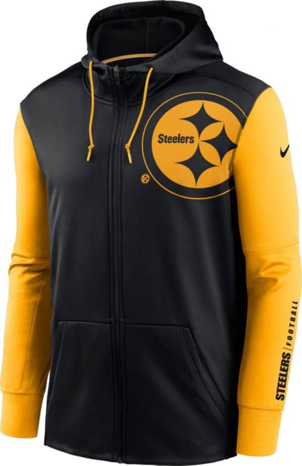 Nike Men's Pittsburgh Steelers Color Block Logo Full-Zip Black Hoodie product image