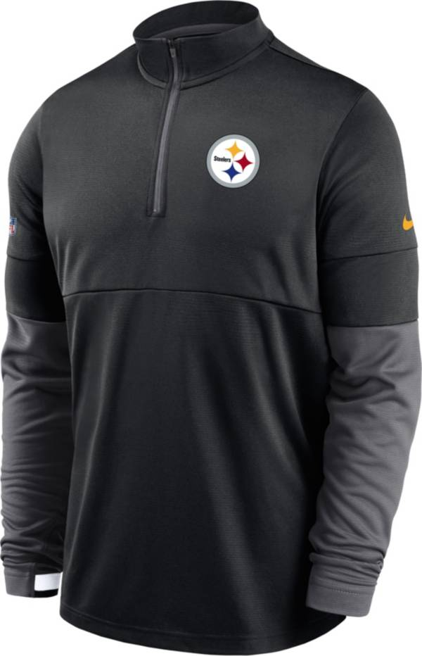 Nike Men's Pittsburgh Steelers Sideline Coach Performance Black Half-Zip Pullover product image