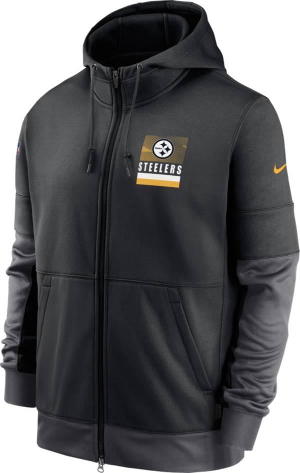 Nike Men's Pittsburgh Steelers Sideline Lock Up Full-Zip Black Hoodie product image