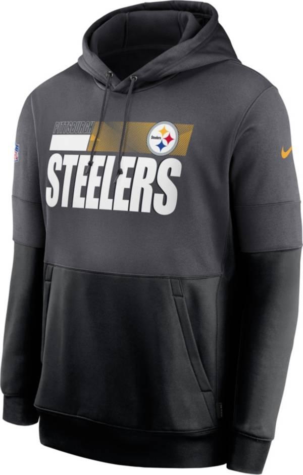 Nike Men's Pittsburgh Steelers Sideline Lock Up Pullover Grey Hoodie product image