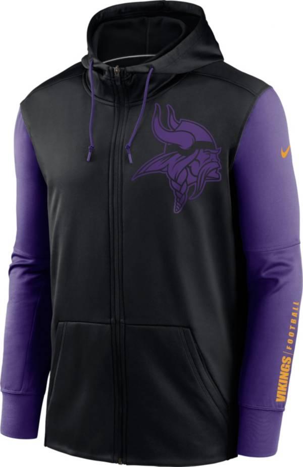 Nike Men's Minnesota Vikings Color Block Logo Full-Zip Black Hoodie product image