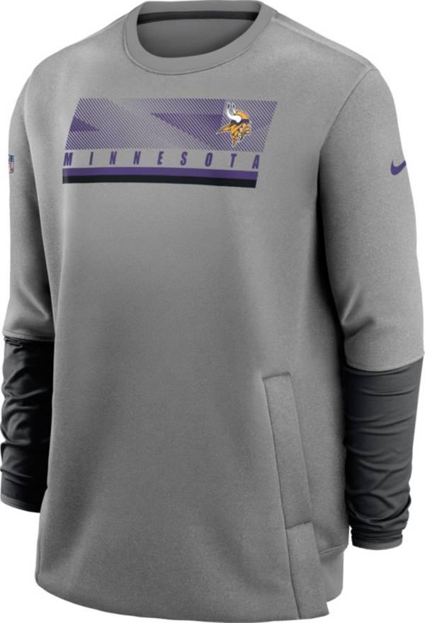Nike Men's Minnesota Vikings Sideline Coaches Grey Crew Sweatshirt product image