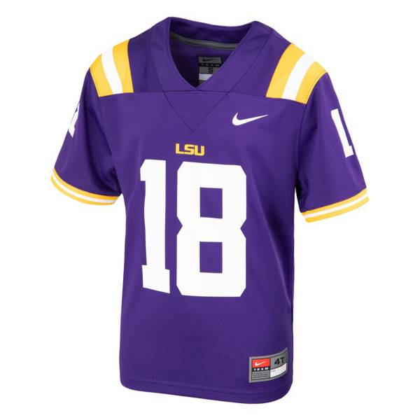 Nike Kids' LSU Tigers #18 Purple Replica Football Jersey product image