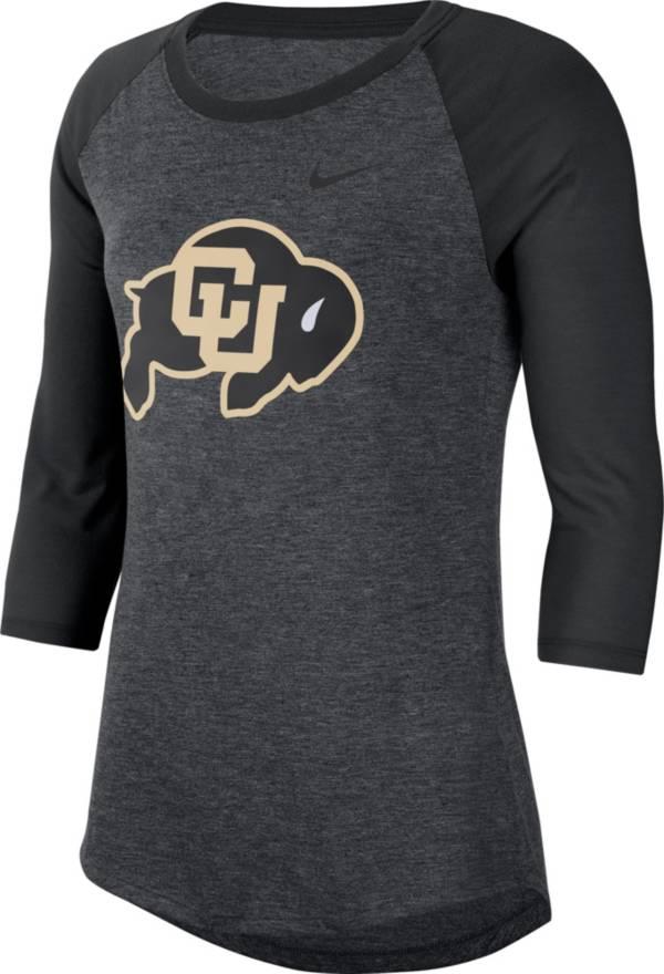 Nike Women's Colorado Buffaloes Grey Dri-FIT Raglan ¾ Sleeve T-Shirt product image