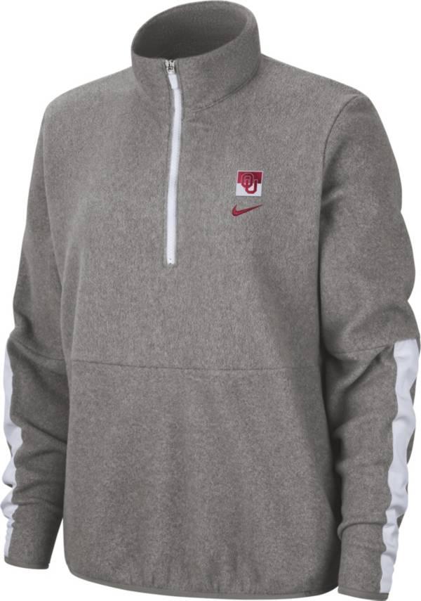 Nike Women's Oklahoma Sooners Grey Therma Half-Zip Fleece product image