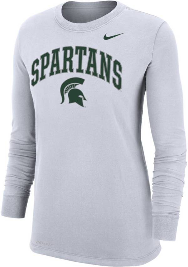 Nike Women's Michigan State Spartans Dri-FIT Cotton Long Sleeve White T-Shirt product image
