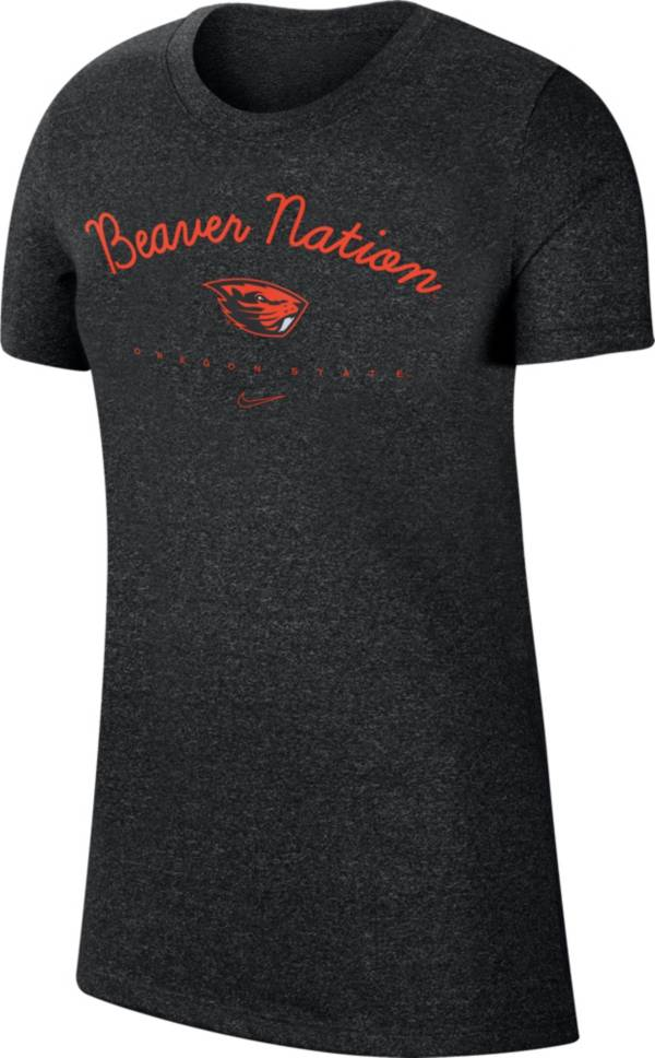 "Nike Women's Oregon State Beavers Marled Crew ""Beaver Nation"" Black T-Shirt product image"