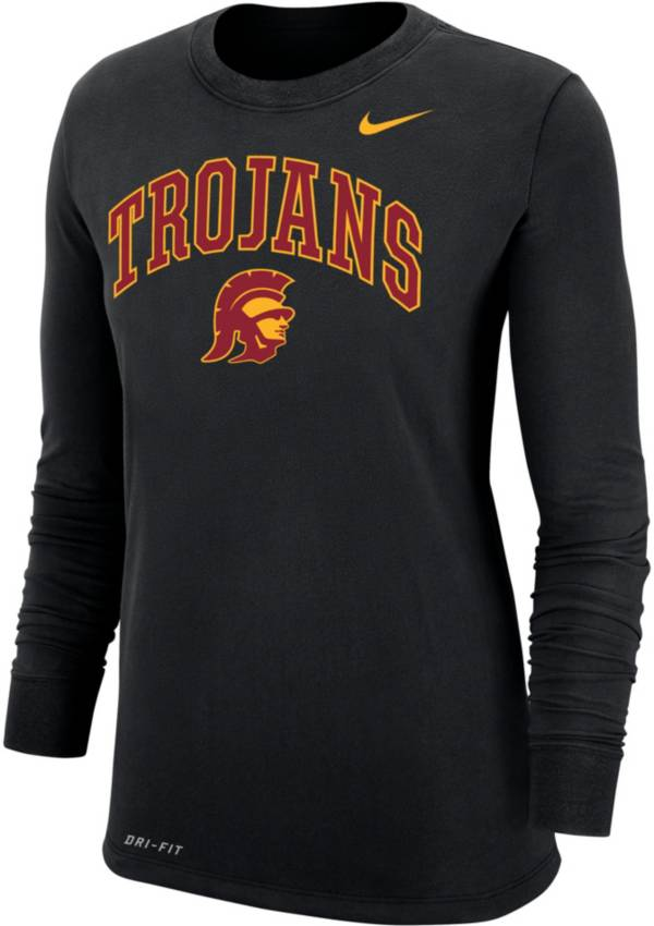 Nike Women's USC Trojans Dri-FIT Cotton Long Sleeve Black T-Shirt product image