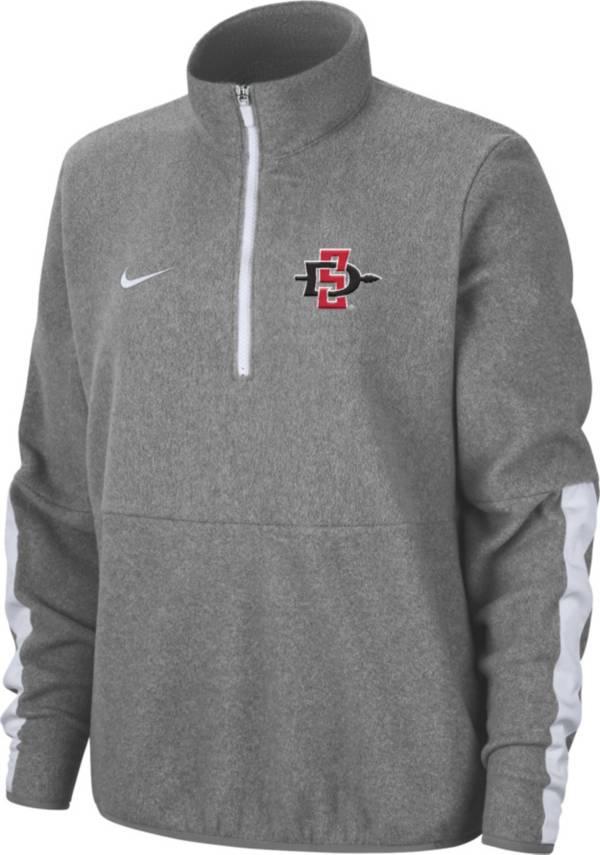 Nike Men's San Diego State Aztecs Grey Microfleece Half-Zip Shirt product image