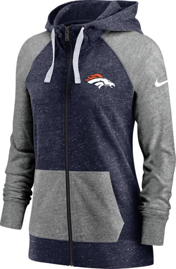 Nike Women's Denver Broncos Navy Gym Vintage Full-Zip Hoodie product image
