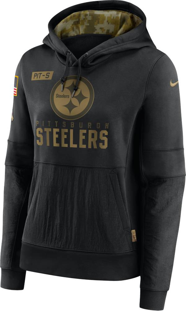 Nike Women's Salute to Service Pittsburgh Steelers Black Therma-FIT Pullover Hoodie product image