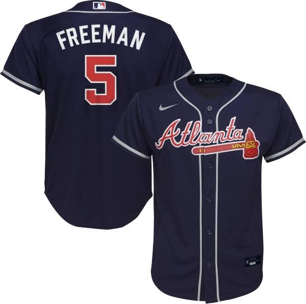 Nike Youth Replica Atlanta Braves Freddie Freeman #5 Cool Base Navy Jersey product image